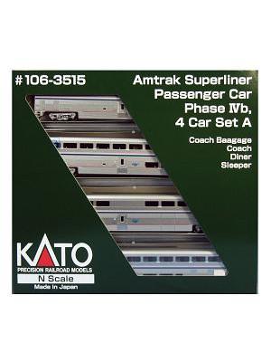 kato 1063515 amtrak superliner 4 car set phase ivb
