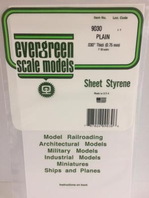 """evergreen 9030 .030 white styrene sheet 6""""x12"""" 2pk"""