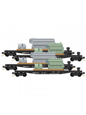 micro trains 99300159 n&wflat car w/loads 4pk