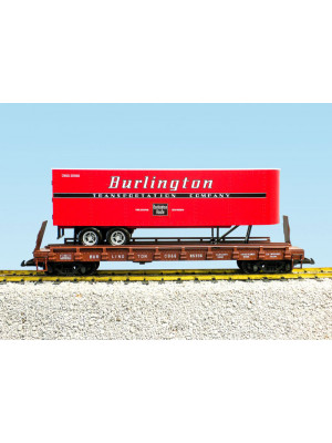 usa trains 17040 burl. rte. flat w/trailer