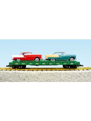 usa trains 1729b flatcar w/55 chevy bel aires