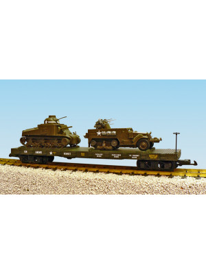 usa trains 1780 us army flat w/2 vehicles