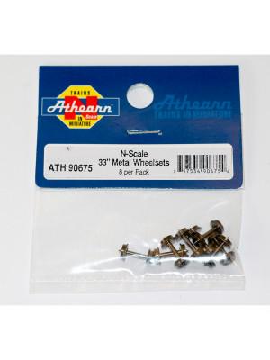 """athearn 90675 n 33"""" wheel sets 8pk"""