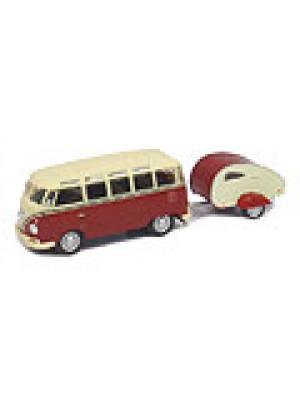 b2b cararama 147008 vw bus w/caravan trailer