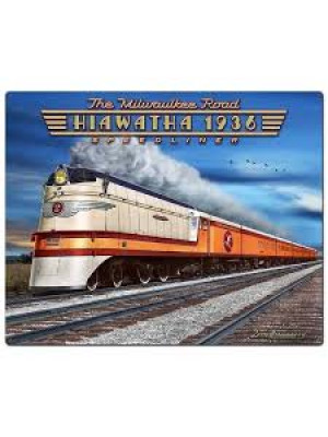 "hiawatha 1936 speedliner 12' x 15"" metal sign"