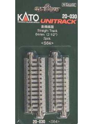 """kato 20-030 2-1/2"""" straight track 2pk"""