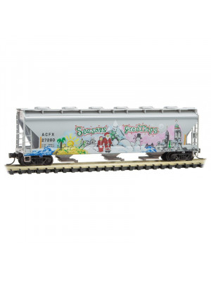 micro trains 09344150 acfx hopper xmas graffiti