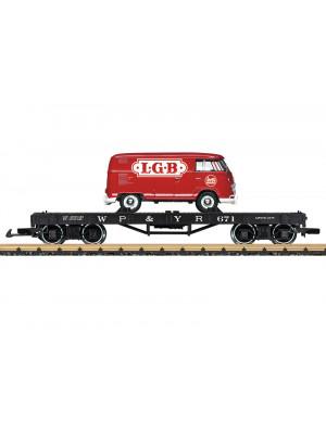 lgb 40597 wp & yukon flatcar w/vw bus