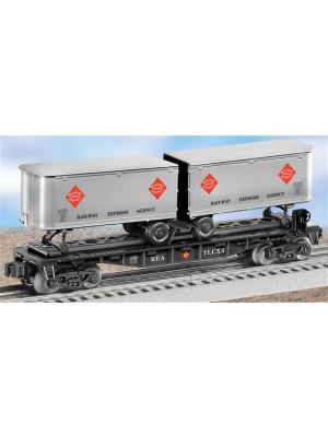 lionel 26366 r.e.a. flatcar with trailers