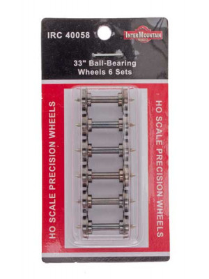 "intermountain 40058 wheelsets ball-bearing 33"" 6pk"