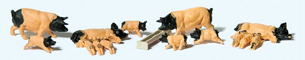 preiser 10149 domestic pigs 8pk